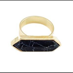 Modern Black Marbled Stone Ring